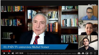 Michel Temer, durante a entrevista concedida ao jornal, transmitida ao vivo.