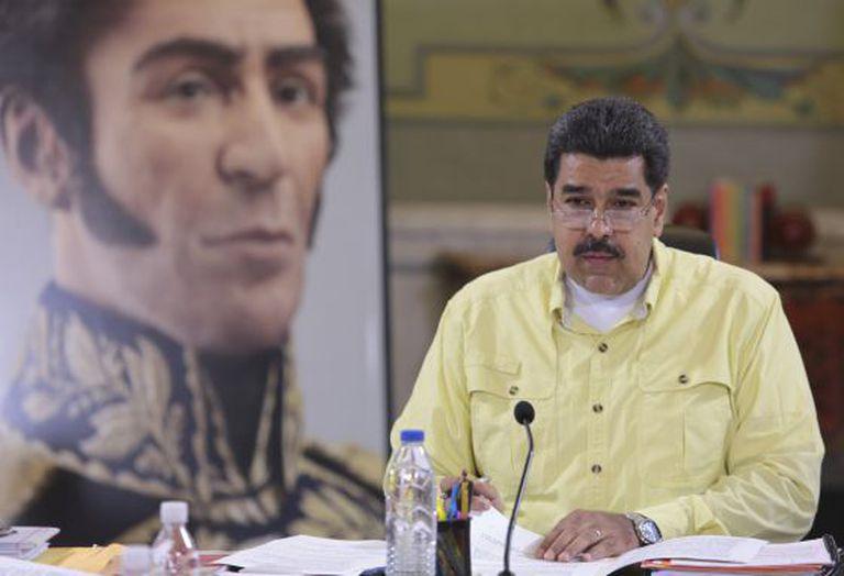 O presidente da Venezuela, Nicolás Maduro, em Caracas ontem.