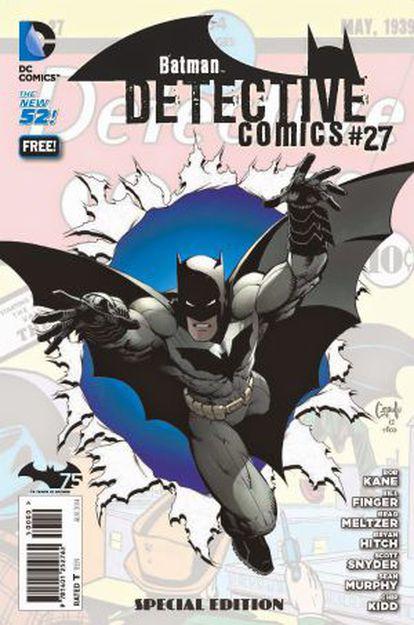 O novo número de 'Detective comics #27', que comemora o 75º aniversário de Batman e contém pela primeira vez a assinatura de Bill Finger.