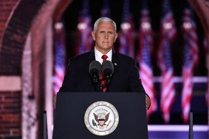 Mike Pence, vice-presidente dos Estados Unidos, em Baltimore (Maryland), nesta quarta-feira. Em vídeo, o discurso do vice-presidente contra Joe Biden.