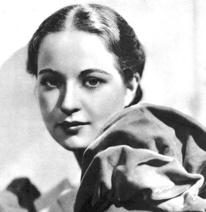 Evelyn Venable, que afirmou ter sido a modelo do logo da Columbia Pictures em 1939, em uma imagem publicitária feita em Londres em 1935.