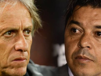 Jorge Jesus e Marcelo Gallardo, os técnicos idolatrados de Flamengo e River.