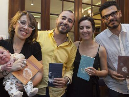 Os autores da coleção 'Pequenos exílios' em São Paulo.