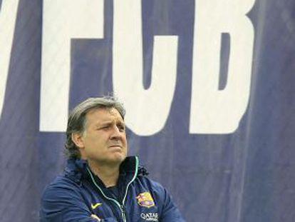 Martino, durante treinamento do Barcelona neste sábado.