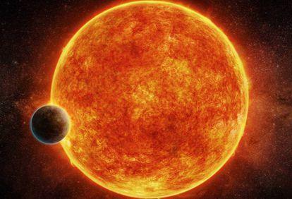 Reprodução do novo exoplaneta e sua estrela.