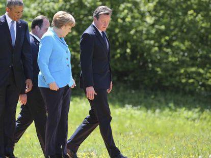 Obama, Hollande, Merkel e Cameron no encontro do G7.