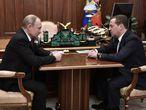 Putin y Medvedev en una reunión este miércoles en el Kremlin de Moscú.