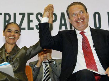 Eduardo Campos e Marina Silva, nesta segunda-feira em Brasilia.
