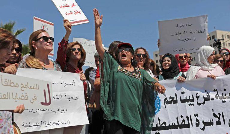 Protesto para pedir investigação sobre a morte de Israa Ghrayeb, na segunda-feira, em Ramala.