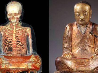 À esquerda, tomografia da escultura do Buda com a múmia dentro. À direita, a imagem externa da figura