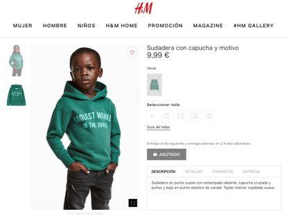 Imagem da criança negra com a sudadera na loja on-line de H&M Espanha, tomada do cache de Google do dia 2 de janeiro
