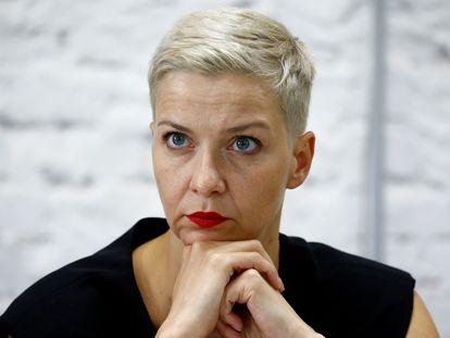 A dirigente oposicionista Maria Kolesnikova numa entrevista coletiva em 24 de agosto em Minsk.