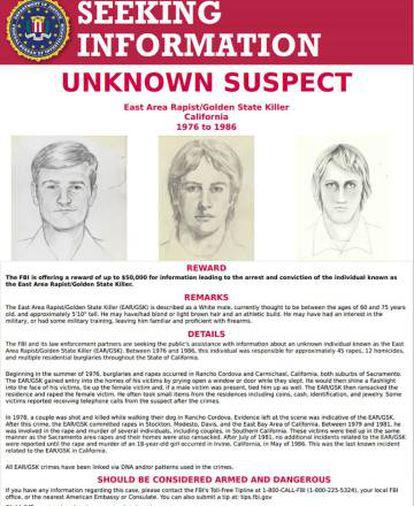 A ficha de procurado do 'Golden State Killer' do FBI