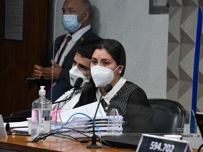 Bruna Morato, advogada representante de médicos que trabalharam na Prevent Senior, durante seu depoimento na CPI da Pandemia nesta terça-feira, 28 de setembro, em Brasília.