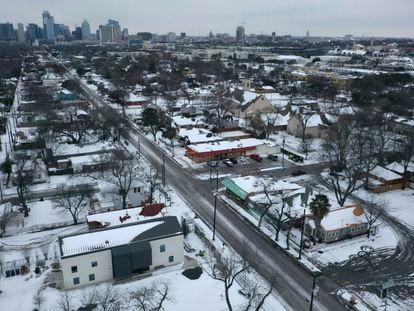 Vista aérea de um bairro de Austin (Texas).