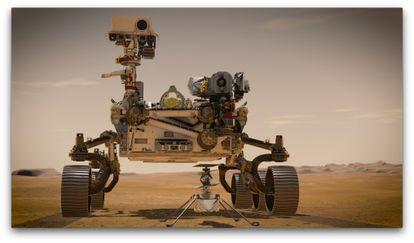 Representação do veículo 'Perseverance' na superfície de Marte.