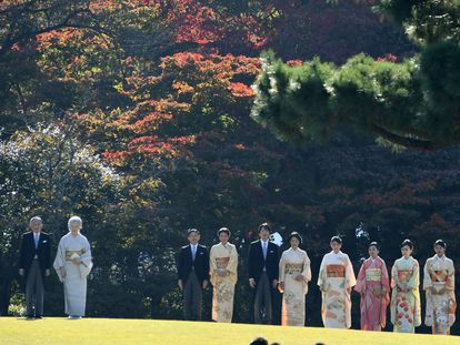 O imperador Akihito com a imperatriz Michiko, o príncipe herdeiro Naruhito e sua esposa Masako, o príncipe Akishino e as princesas Kiko, Mako, Akiko, Yoko, Tsuguko e Ayako, em novembro de 2009
