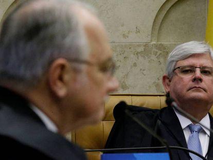 Janot ouve o ministro do Supremo, Edson Fachin, no STF.