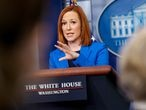 White House Press Secretary Jen Psaki speaks during a press briefing at the White House in Washington, U.S., April 26, 2021. REUTERS/Evelyn Hockstein