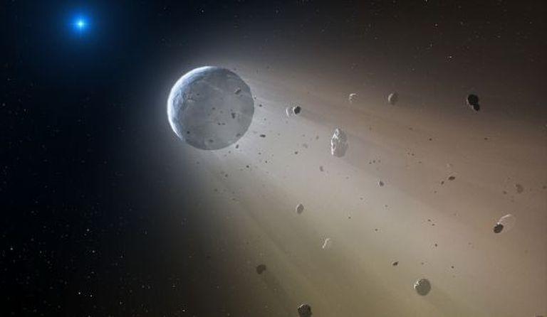 Reconstituição do planeta em desintegração.