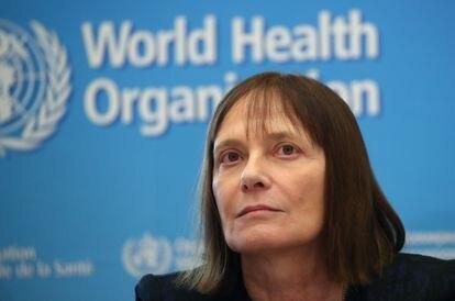 A pesquisadora Marie-Paule Kieny, em uma conferência sobre o coronavírus organizada em fevereiro na sede da OMS em Genebra (Suíça).