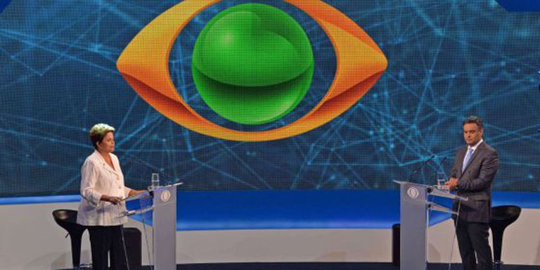 Presidente Dilma Rousseff e senador Aécio Neves no debate da Band.