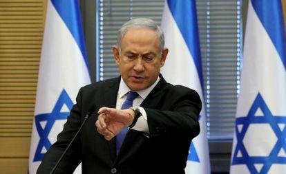 O primeiro-ministro israelense, Benjamín Netanyahu, na quarta-feira no Parlamento.