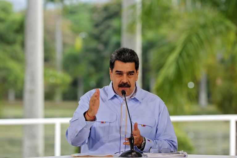Nicolás Maduro durante um pronunciamento no Palácio de Miraflores.