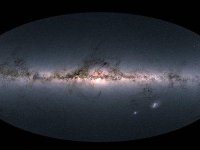 Imagem da Via Láctea e outras galáxias próximas.