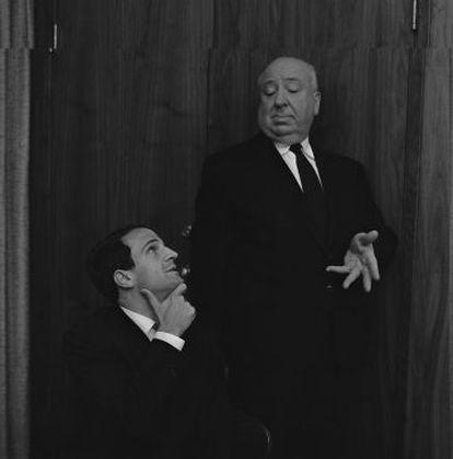 Truffaut e Hitchcock durante sessão de fotos depois da entrevista de seis dias, em 1962, retratados por Philippe Halsman.