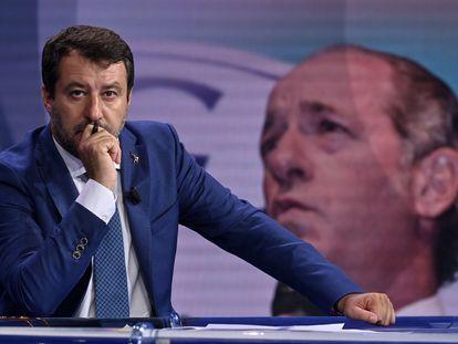 O líder da Liga, Matteo Salvini, durante um debate na rede de televisão italiana RAI em 23 de setembro de 2020.