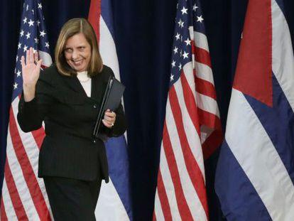 Josefina Vidal, chefe da equipe de negociação cubana, após conversações.