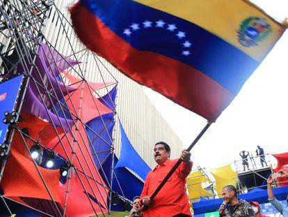 Nicolás Maduro, em ato encerramento da campanha nesta quinta-feira em Caracas.
