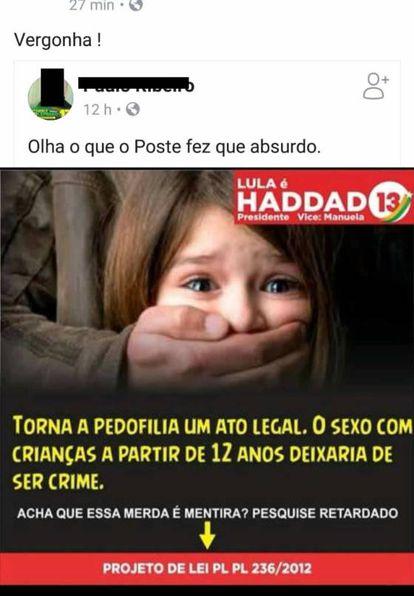 Exemplo da informação falsa sobre pedofilia que circula nas redes com o logotipo de Haddad.