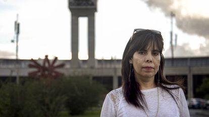 Yaneth Molina na semana passada no aeroporto José María Córdova em Antioquia.
