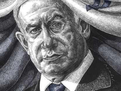 Ilustración de Benjamin Netanyahu por