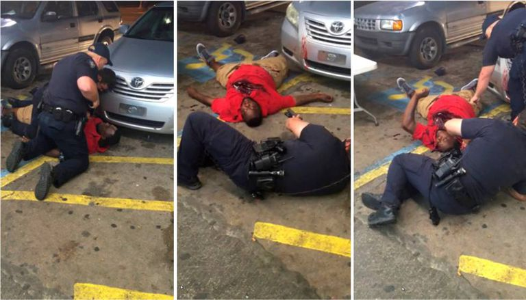 Imagens de um vídeo que mostra a morte de Sterling nas mãos da polícia em Baton Rouge.