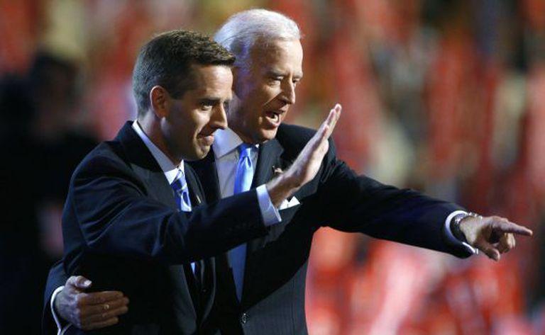 Joe e Beau Biden, durante evento do Partido Democrata em 2008.