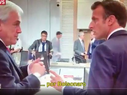 Sebastián Piñera (à esquerda) e Emmanuel Macri falam sobre Bolsonaro nos bastidores da cúpula do G20