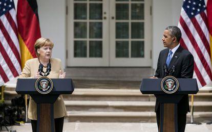 Angela Merkel em visita à Casa Branca, em maio.