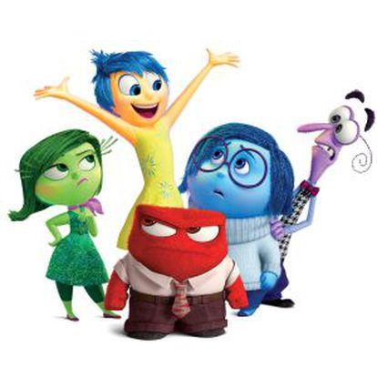 Da esquerda para a direita os personagens que representam as emoções: Nojinho, Alegria, Raiva (o vermelho), Tristeza e Medo.