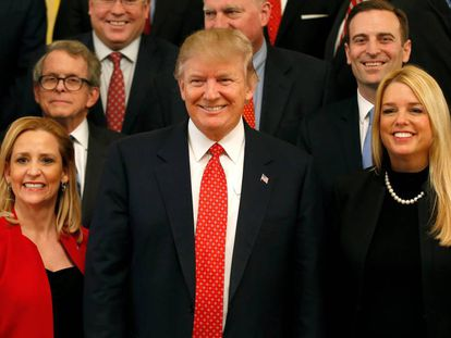 Donald Trump, nesta terça, com a Associação Nacional de Procuradores-Gerais.