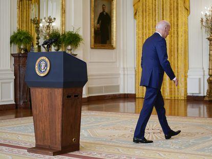 Joe Biden, nesta quinta-feira na Casa Branca, após fazer seu discurso econômico.