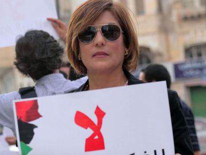 A ativista líbia Salwa Bughagis, dia 10 de maio em Bengasi.