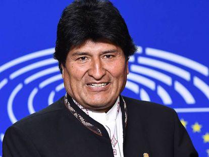 Evo Morales durante visita a Bruxelas