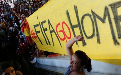 Um protesto recente em Brasília contra a Copa do Mundo.