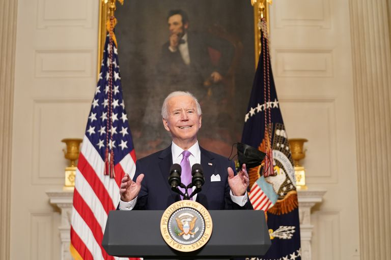O presidente Joe Biden durante uma entrevista coletiva na terça-feira sobre a resposta à covid-19.