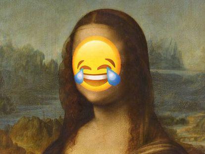 'Mona Lisa', também conhecida como 'La Gioconda', um dos sorrisos mais populares da arte, com um emoji sobre seu rosto.