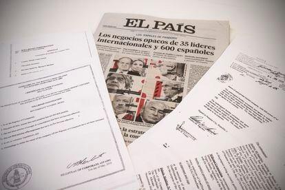 Documentos dos 'Pandora Papers' ea capa do EL PAÍS de 4 de Outubro.