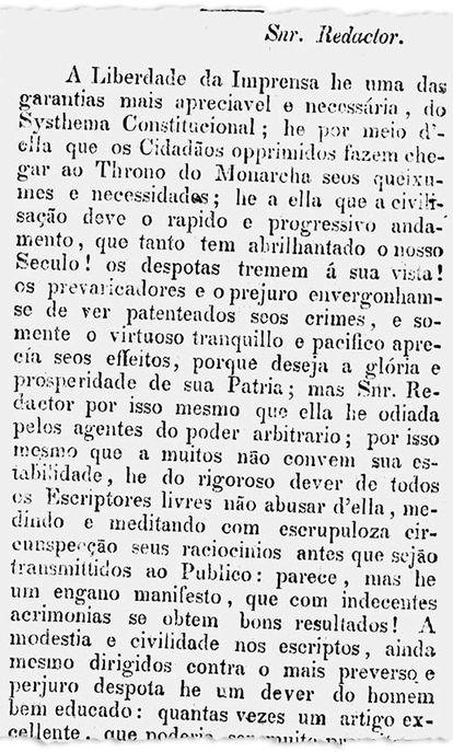 Em artigo, jornal Astrea pede a aprovação de uma lei que garanta a liberdade de imprensa (imagem: Biblioteca Nacional Digital)